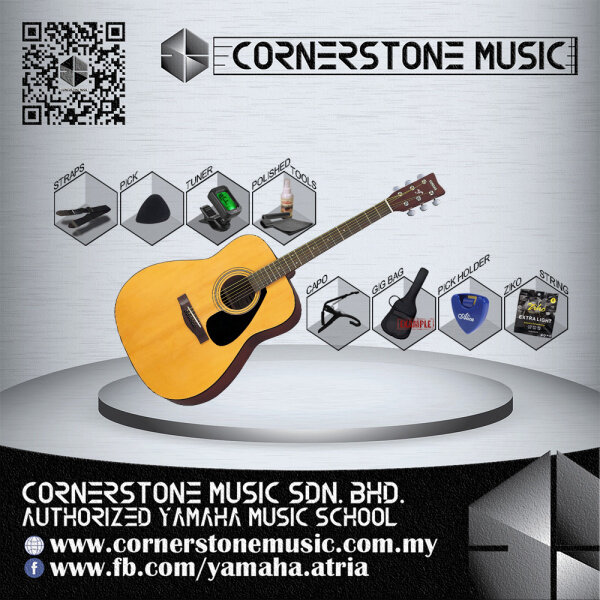 Yamaha Acoustic Guitar F310 Student / Beginner Model Silver Package ( F 310 / F310N ) - N / Natural Cornerstone Music Malaysia