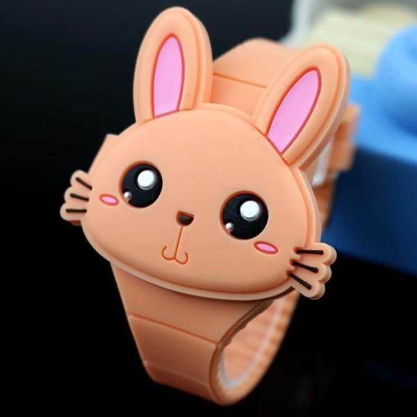 Lovely Rabbit Cartoon Children Watches Flip Cover Rubber Electronic Kids Watch for Boy Student Girls Clock Reloj Infantil Saati Malaysia
