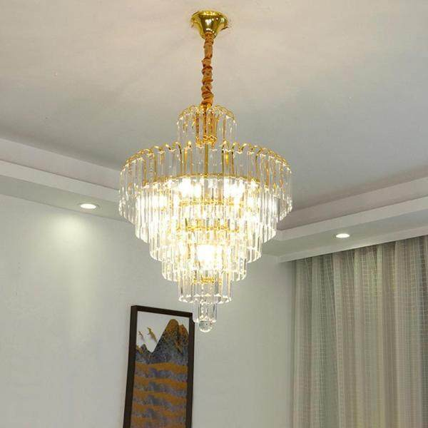QUKAU Modern LED crystal restaurant chandelier living room E14 bulb pendant lighting pendant lamp ceiling lamp bedroom study yellow crystal small meal hanging household lamps