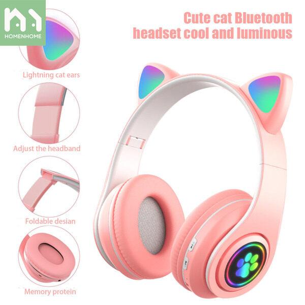 Homenhome Cat Headphone Wireless Bluetooth Headphones Cat Ear Headset Gaming Earphone Singapore