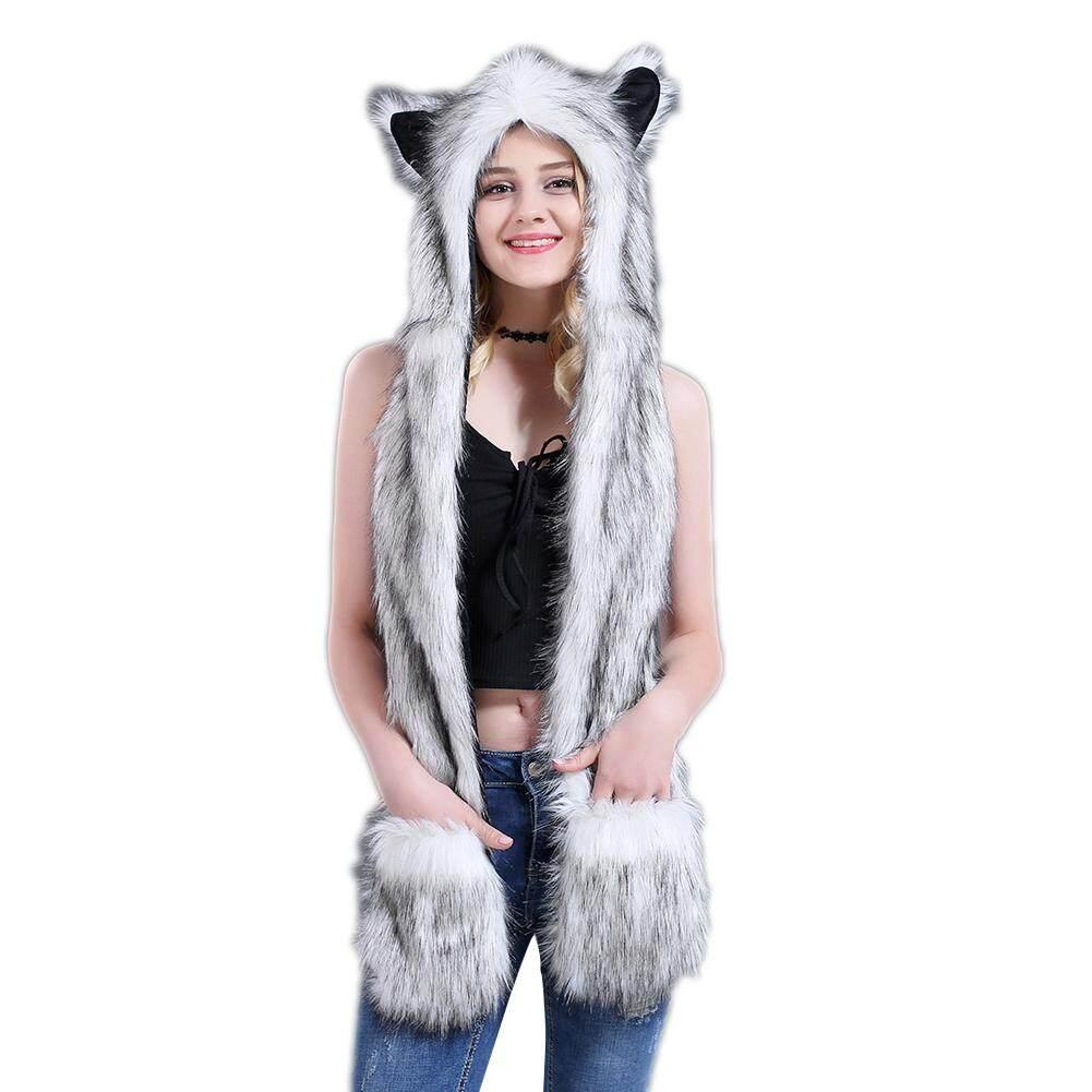 Sanwood®Wanita Musim Dingin Kartun Serigala Hood Hat dengan Syal Sarung Tangan Telinga Kaki Pakaian