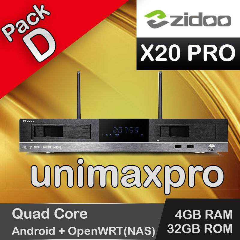 (unimax Pro)(pack D) Zidoo X20 Pro Quad Core 4gb Ram 32gb Rom Android 6 + Openwrt(nas) Tv Box Malaysian Famous Apps 10000+ Tv Channel Vod Movie Drama Series By Unimax Pro.