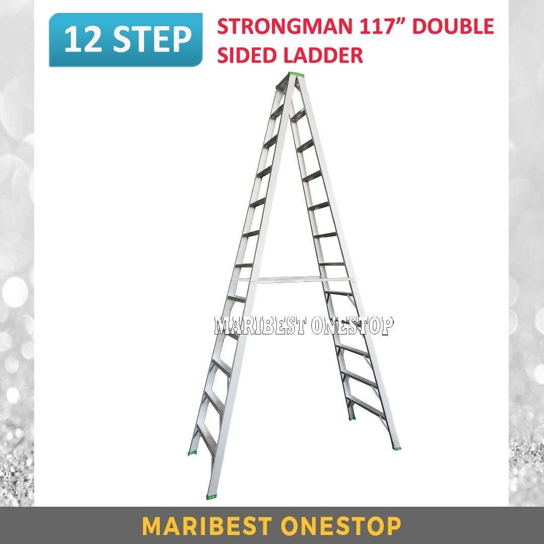 "STRONGMAN DS12 117"" Aluminium Double Sided 12 Steps Ladder"