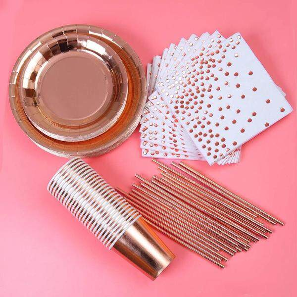 146 Pieces Rose Gold Party Supplies Party Tableware Foil Paper Plates Napkins Cups Straws for Weddings, Anniversary, Birthday for 24 Guests