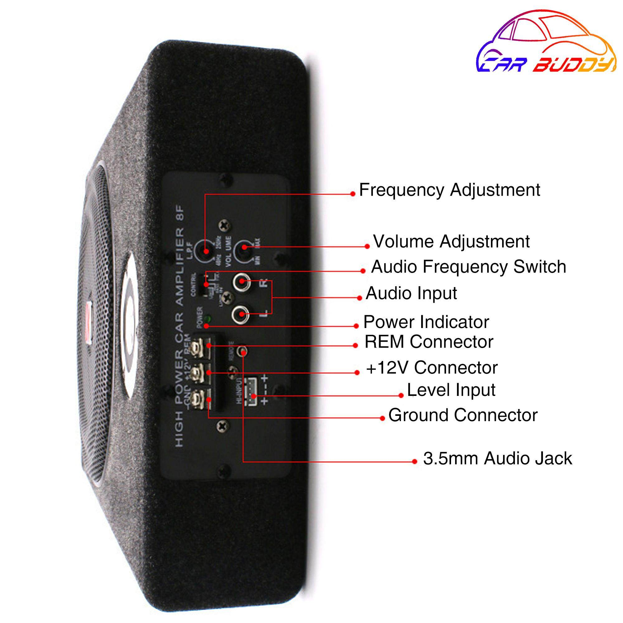 CAR BUDDY 8'' Car Underseat Super Slim Active Subwoofer Built in Amplifier  with Felt Wooden Body  High Quality Sub Woofer with High Quality Built-In