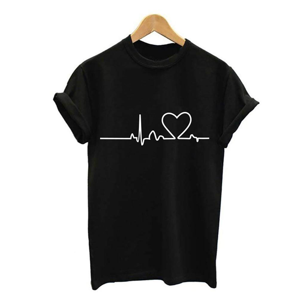 e4345bb34e43 Aiipstore Women Girls Plus Size Print Tees Shirt Short Sleeve T Shirt  Blouse Tops