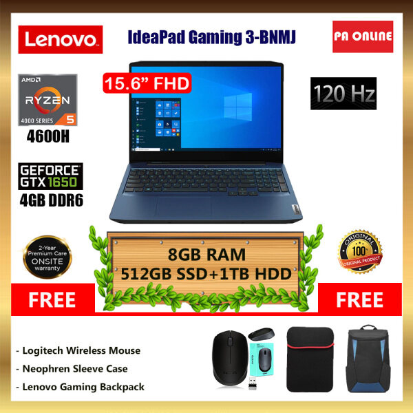 Lenovo IdeaPad Gaming 3 15ARH05 82EY00BNMJ -AMD Ryzen 5 4600H /8GB-24GB RAM /512GB SSD+1TB HDD /NVD GeForce GTX 1650 4GB /15.6FHD 120Hz /Win 10 /2 Year Malaysia