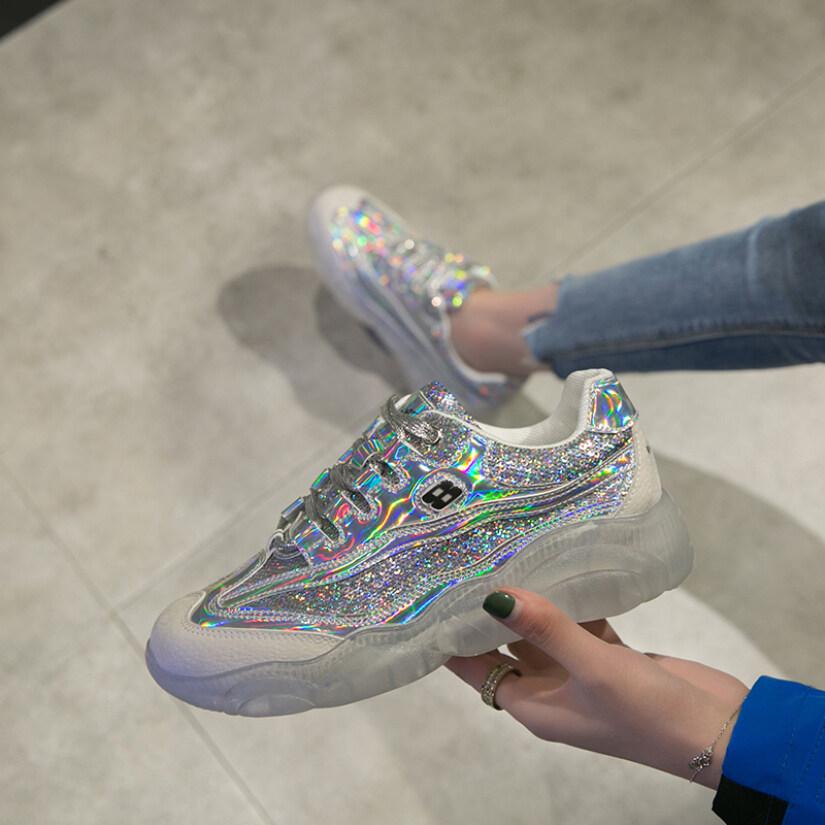2020 Phụ Nữ Mới Giày Thể Thao Đế Dày Giày Thể Thao Giản Dị Giày Sáng Màu Giày Đi Bộ Thời Trang giá rẻ