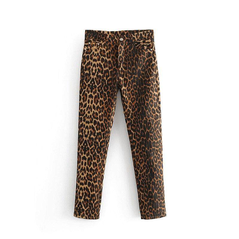 91a4f4853 New Fashion Leopard Skinny Jeans Woman High Waist Push Up Jeans Vintage  Sexy Leopard Printing Denim