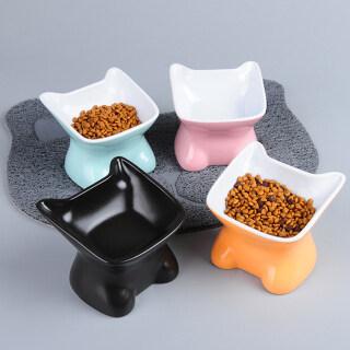 1 Chiếc Bát Nâng Thức Ăn Cho Thú Cưng Bằng Gốm, Máy Cấp Nước Nghiêng Chống Trượt Món Ăn Bộ Đồ Ăn Cho Chó Mèo Chó Con Mèo Con thumbnail