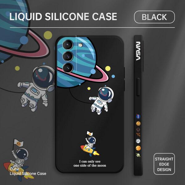 Ốp Jizetin Cho Samsung Galaxy S21 5G S21 + 5G S21 Ultra 5G, Ốp Lưng Điện Thoại Hoạt Hình Phi Hành Gia NASA Earth Planet, Vỏ Silicon Lỏng Họa Tiết CẠNH VUÔNG, Vỏ Máy Ảnh