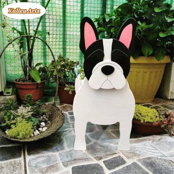 Trồng Cây Chó Bull Pháp, Chậu Cây Hình Chó Bằng Gỗ Chậu Hoa Động Vật Mô Phỏng 3D Trang Trí Cho Nhà Kính Gia Đình