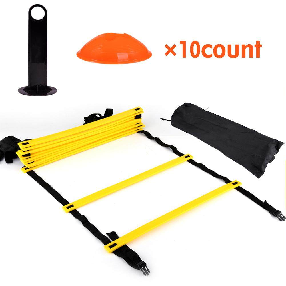 Mnyy Speed Agility Training Ladder Kit--12 Adjustable Flat Rungs + 10 Cones (orange/yellow) For Football Soccer Skate By Mnyyshop.