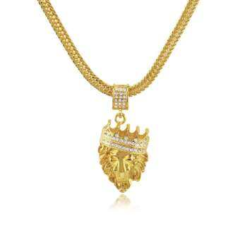 Golden มงกุฎสิงโตหัวเพชรแขวนฮิปฮอปสร้อยคอ HIPHOP ผู้ชายเครื่องประดับ