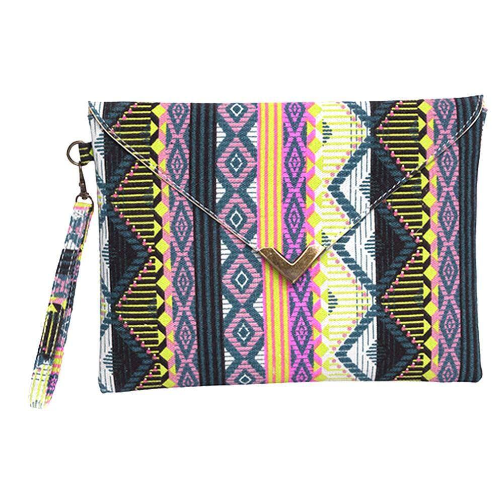 ผู้หญิงสไตล์รูปแบบเรขาคณิตกระเป๋าคลัทซ์ผ้าใบกระเป๋าถือกระเป๋าสตางค์ถุงสุภาพสตรีกระเป๋าสะพายไหล่ By Gethome12.