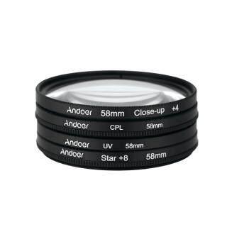Andoer Bộ Lọc Tròn 8 Điểm UV + CPL 58Mm + Cận Cảnh + 4 + Sao, Bộ Lọc Phân Cực Tròn Bộ Lọc 8 Điểm Hình Sao Cận Cảnh Macro Có Túi Dành Cho Máy Ảnh DSLR Nikon Canon Pentax Sony thumbnail