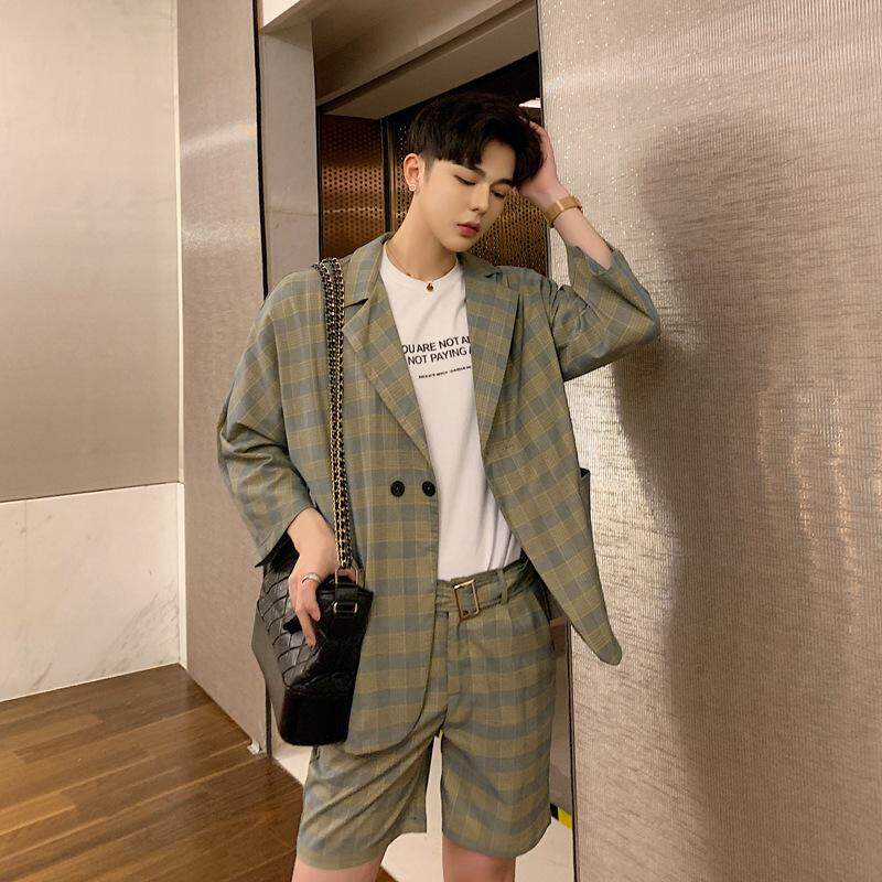 2019 Summer Mens Hong Kong Seven-Point Sleeve Cardigan Decorative Belt Shorts Mens Suit Suit Men By Yangs House.