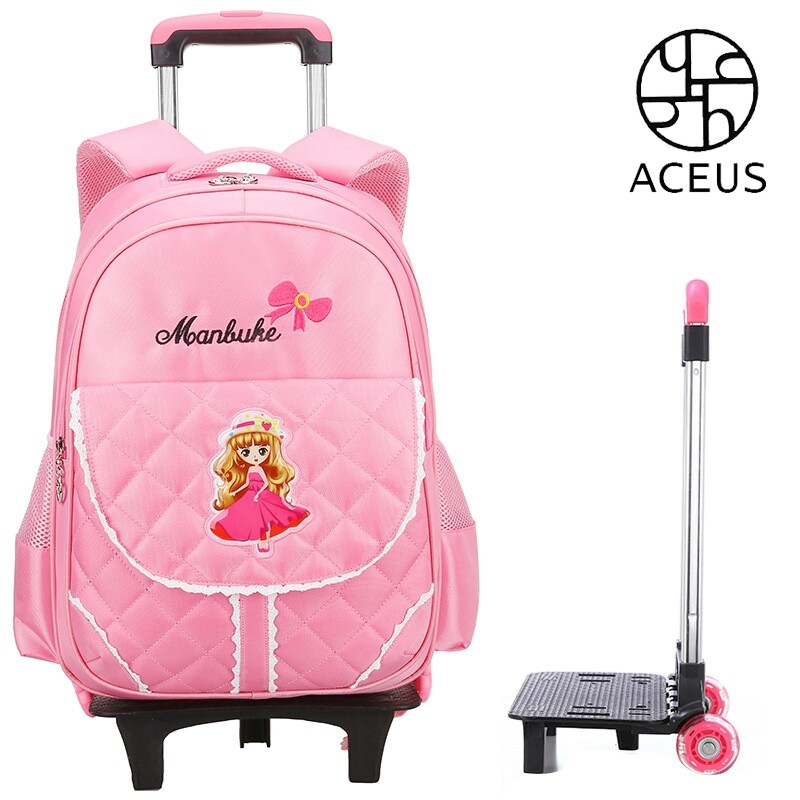 Aceus Campus Children Trolley Bag Primary School Students Girl 1-6 Grade Six-wheeled Stairs Removable