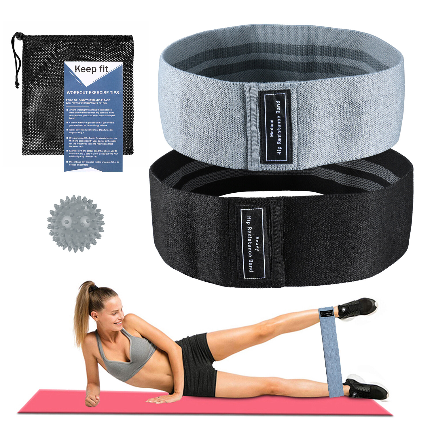 2pcs Booty Bands Fabric Resistance Glute Bands For Legs And Butt Hip Workout Exercise Bands With Spiky Massage Ball And Carry Bag Yoga Pilates Strength Training Lixada.
