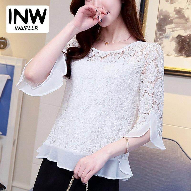 f45b2be6aa8 INWPLLR Korean Women s Fashion Tops Lace Chiffon Shirt Female Casual Round  Neck Short Sleeve Blouse Women