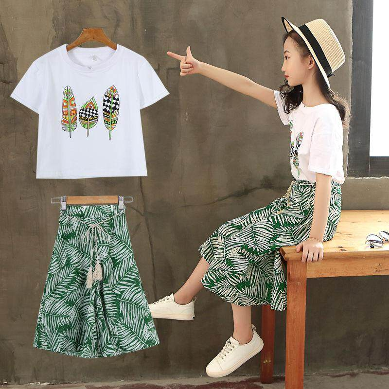93ca759087a17a Children Girls  s Clothing Baby T-Shirt Wide Leg Pants Two-Piece Set