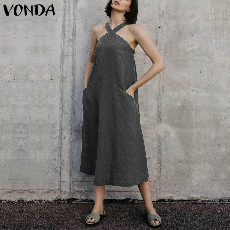 VONDA Women Summer Strap Sleeveless Long Sundress Party Evening Shirt Dress