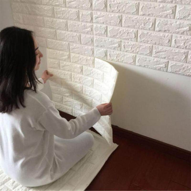 1pc 70x38.5cm PE Foam 3D Wall Stickers Safety Home Decor Wallpaper DIY Wall Decor Brick Living Room Kids Bedroom Decorative Sticker