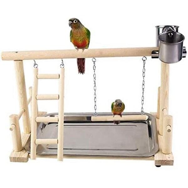 BENEDICT Conure Lovebirds Huấn Luyện Thú Cưng Với Cốc Cho Ăn Sân Chơi Tương Tác Thoải Mái Đồ Chơi, Thang Leo Núi Cá Rô, Giá Gỗ Cho Vẹt