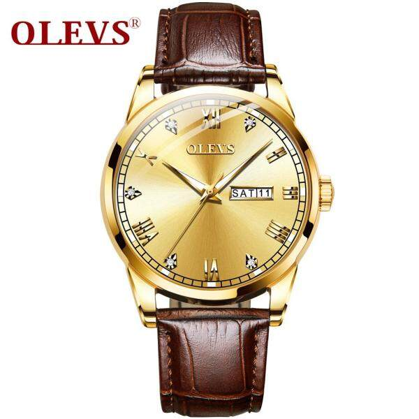 OLEVS Men Watch Waterproof Leather Luxury  24 Hour Date Quartz Watches Male Rhinestone Sport Wristwatch smart watch for men Malaysia