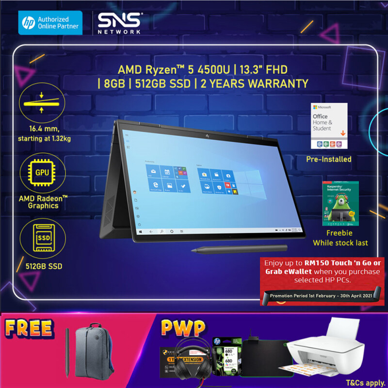 NEW HP ENVY x360 13-ay0043AU 13.3 FHD Touch Screen 2 in 1 (AMD Ryzen 5 4500U, 512GB SSD, 8GB, AMD Radeon Graphics, W10H) - Night Fall Black [FREE] HP Backpack + HP Active Pen + Microsoft Office Home & Student (Grab/Touch & Go redemption : 1/2-30/4*) Malaysia