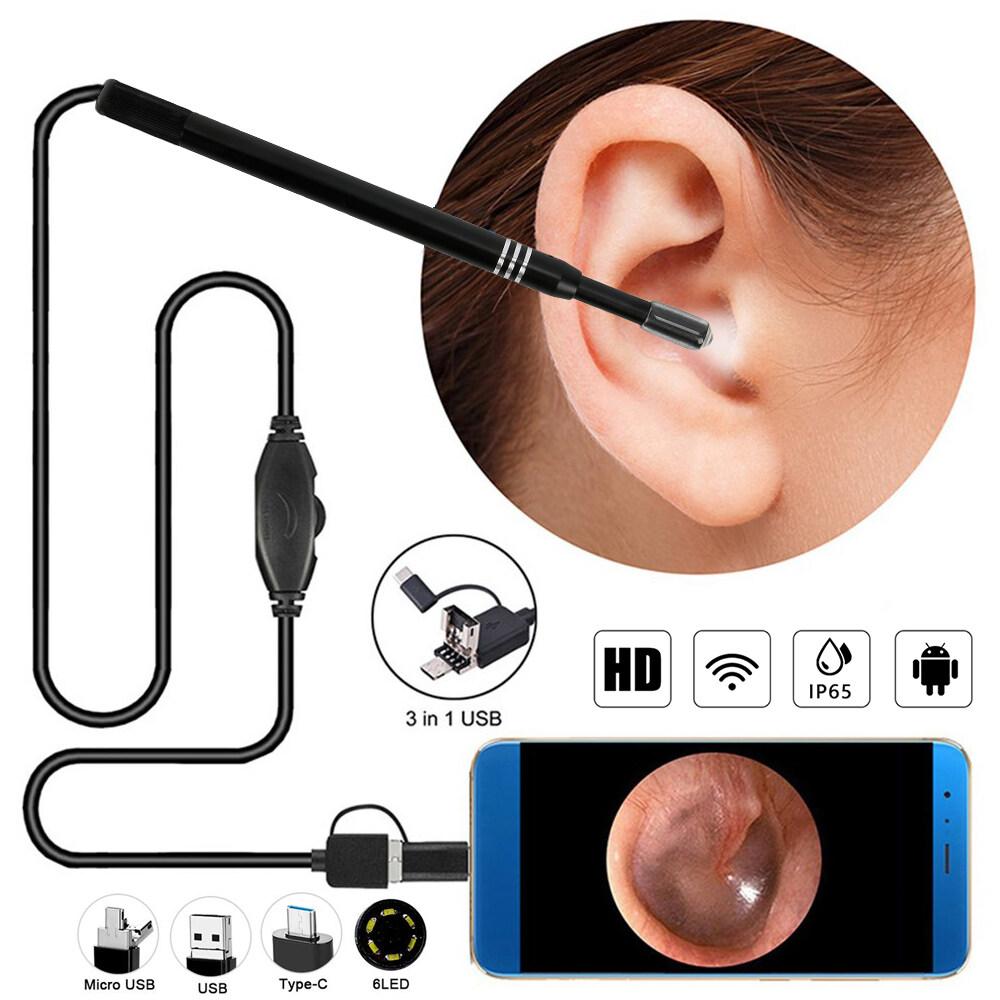 3 Trong 1 USB Làm Sạch Tai Nội Soi HD Trực Quan Tai Muỗng Earpick Với Camera Mini 5.5Mm 6 Nội Soi Ánh Sáng Có Thể Điều Chỉnh Cho Điện Thoại Di Động Android Máy Tính Xách Tay