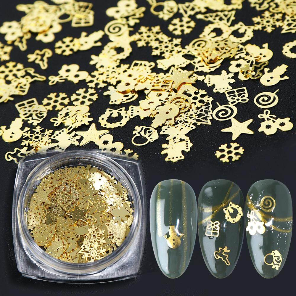 Nail Designs For Christmas 2019.2019 Xmas Metal Hollow Sequins Golden Star Gift 3d Nail Art Decoration Christmas Flakes Paillette Manicure Accessories