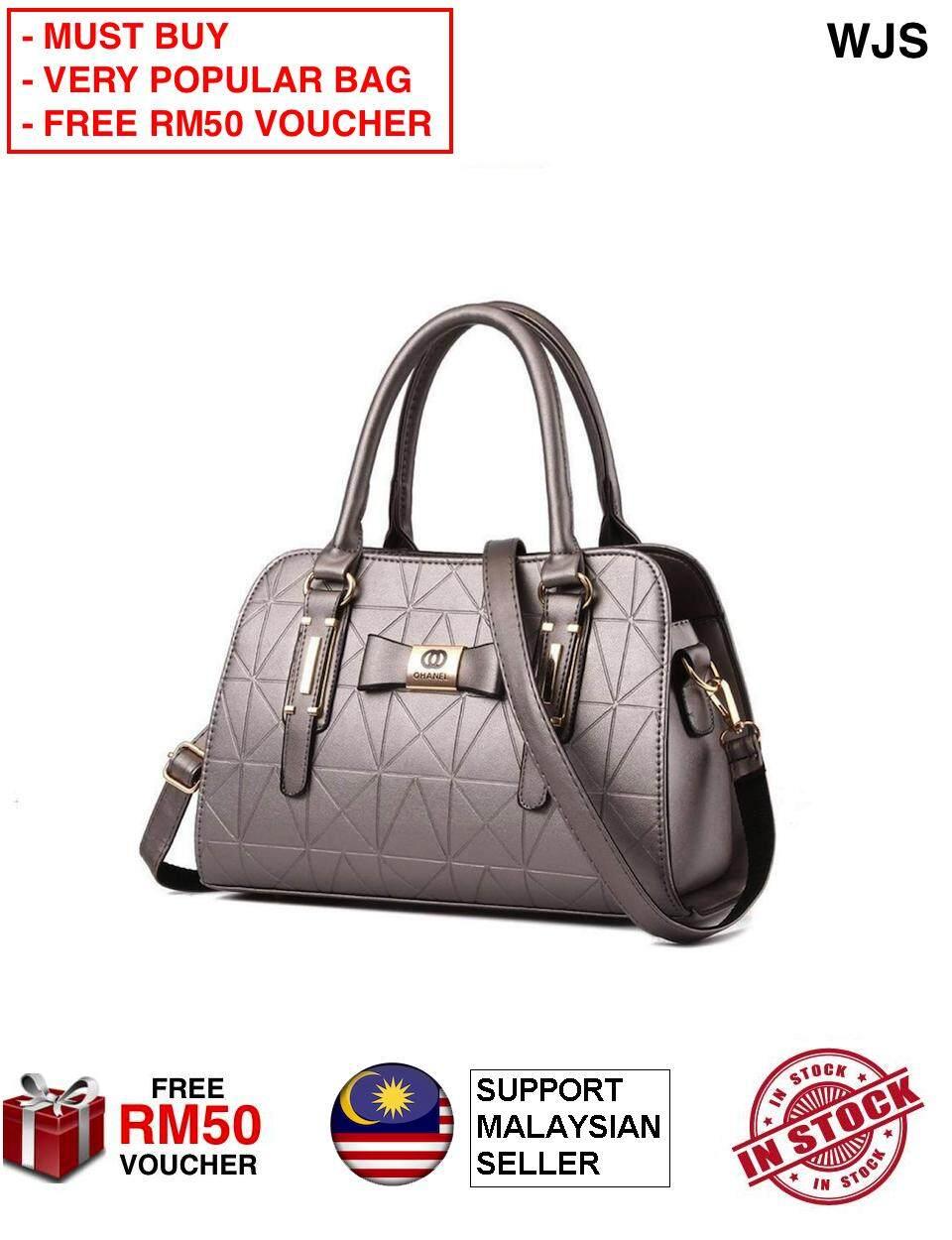 (VERY POPULAR BAG) WJS Ohanel Channel Women Handbag Premium Branded Handbag  Hand Bag Quality Fashion Handbag with Premium Material Handbeg (FREE RM50