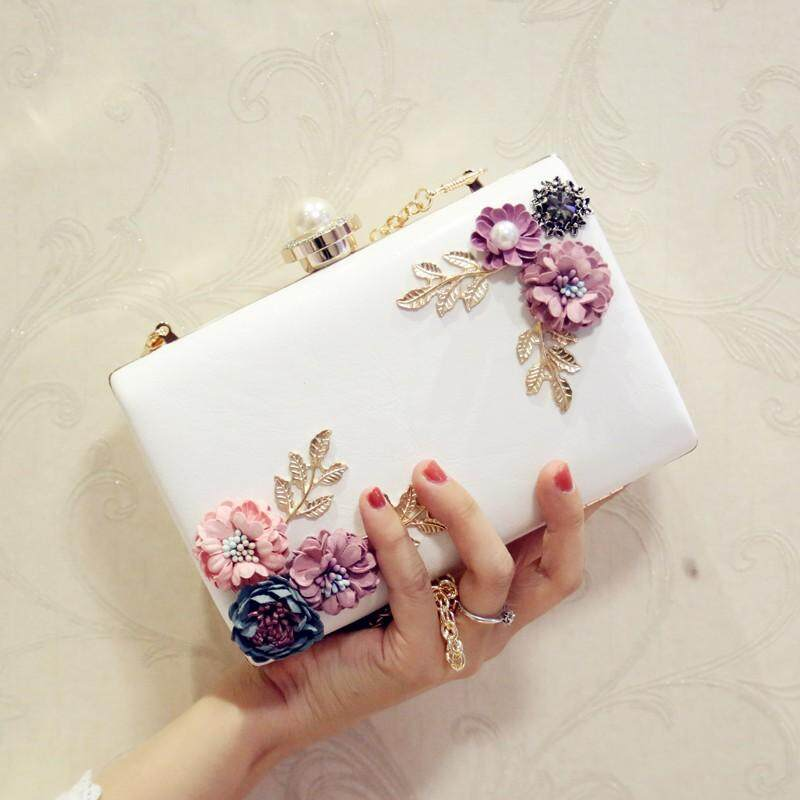 Elegant Jewel Flower Dinner Clutch