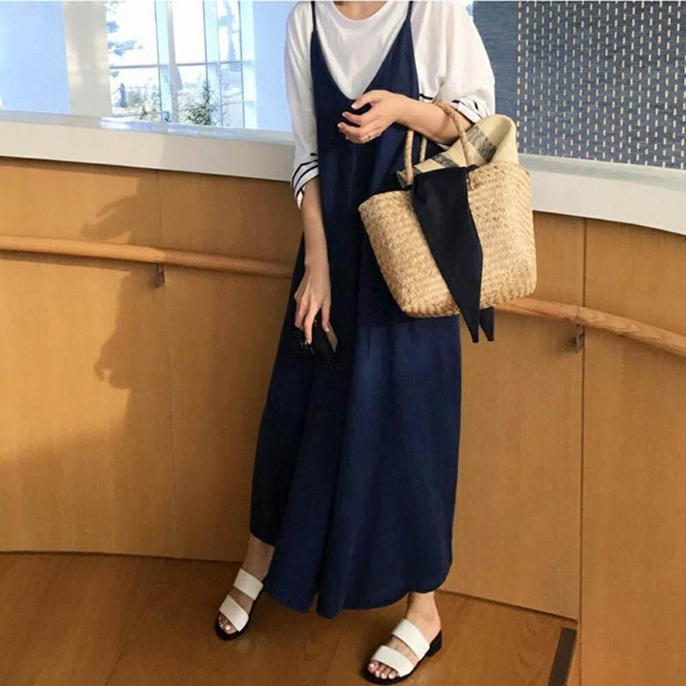 9c7b8a35a8c Genmoment Plus Womens Cotton Linen Overall Jumpsuit Baggy Playsuit Wide Leg  Pants