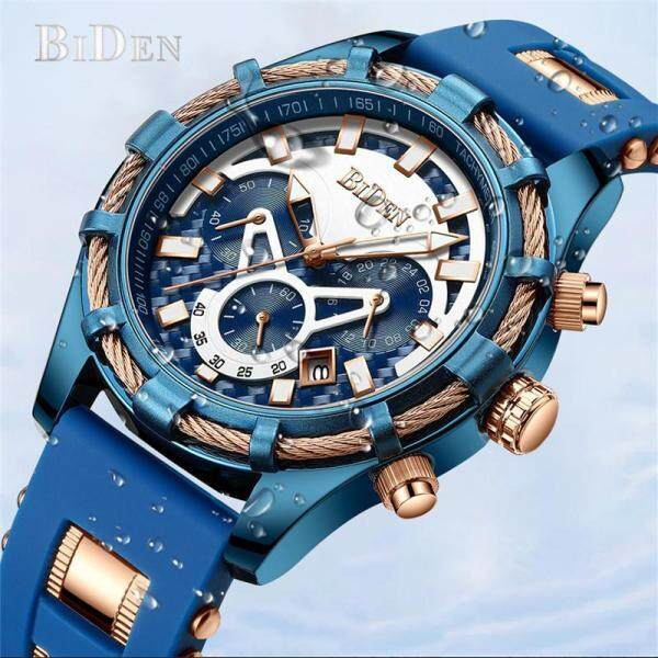 BIDEN Top Brand Luxury  Fashion Casual Blue Golden Sport Quartz Men Waterproof Watch Males   Bussiness Wristwatch 30 Meter  Clock Malaysia