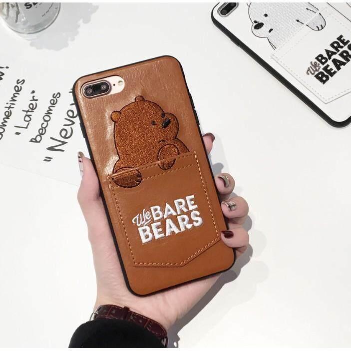 DQ Beruang Kartun Lucu Bordir Kulit Casing Ponsel dengan Saku Kartu untuk iPhone Spesifikasi: Iphone 8G/7G (4.7)