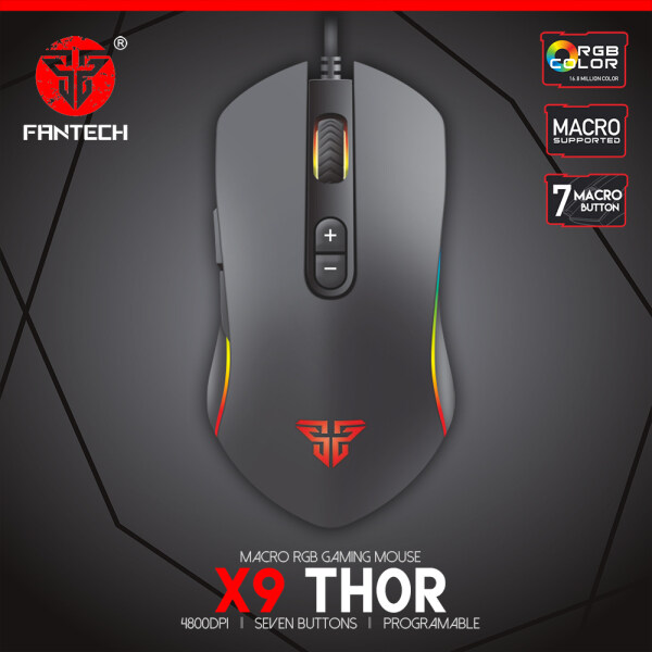FANTECH THOR X9 WIRED MACRO RGB GAMING MOUSE. 4800 DPI, 7 MACRO BUTTONS & PROGRAMABLE. CORD: 1.8METER CABLE Malaysia