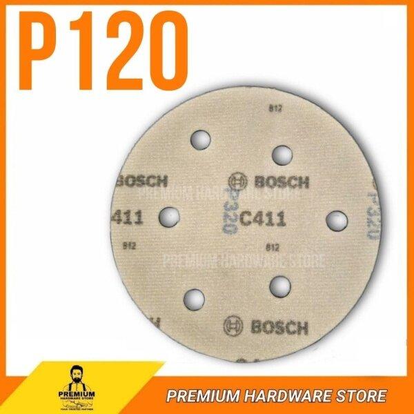 Bosch 125mm 6 Hole C411 Sand Mesh Grip Disc Wood Sanding Orbital Sander Kertas Pasir Bulat Hook Loop