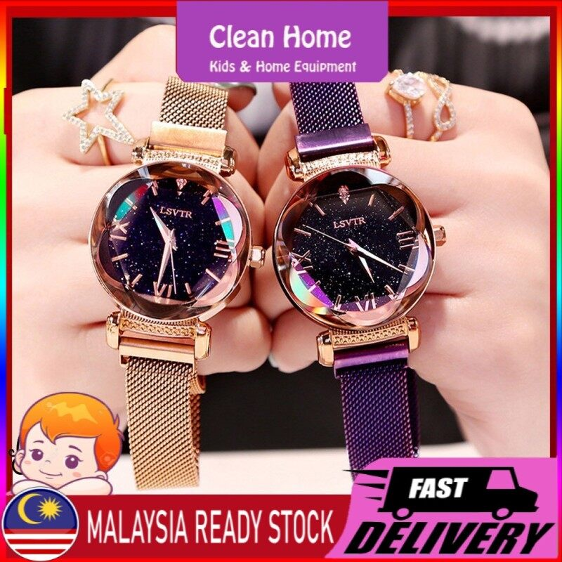 Ready Stock Valentine Gift Women Watches Queen Watch Quartz Watch Iron Magnet Strap lady watch Jam Tangan Perempuan Malaysia