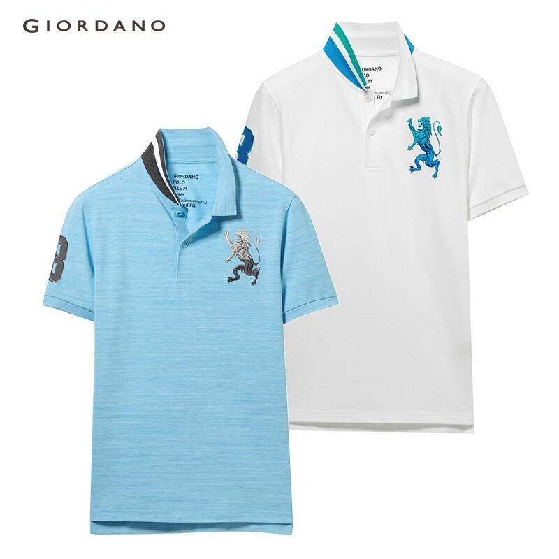 0fd17ab3 [2 PACKS] Giordano Men Polo Shirts Embroidered Polo T-Shirt Contrast Pique  Slim
