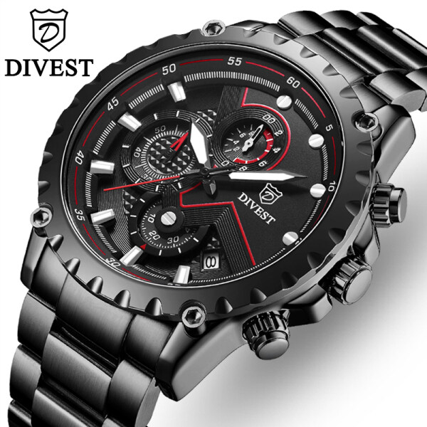 DIVEST Fashion Mens Original Quartz Business Watch Men Luxury Brand Clock Waterproof Sport Stainless Steel Chronograph Classic Watch Malaysia