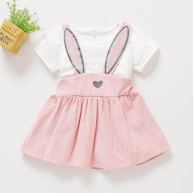 Summer Baby Girl Fake 2 Piece Rabbit Pattern Short Sleeve Princess Dress BW