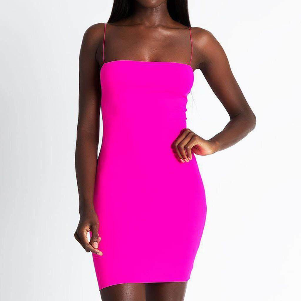 6f5206efd7f GUO Fashion Women Sexy Solid Sleeveless Straps Sling Casual Club Bodycon  Mini Dress