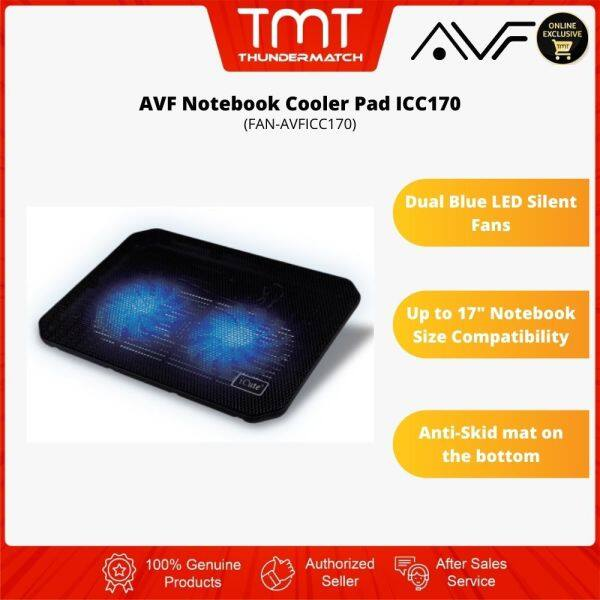 AVF Notebook Cooler Pad ICC170|Dual Blue LED Silent Fan|Up to 17|6 Month Warranty Malaysia