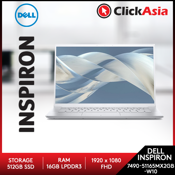 Dell Inspiron 14 7490-51165MX2GB-W10 14  FHD Laptop Silver ( I7-10510U, 16GB, 512GB, MX250 2GB, W10) Malaysia