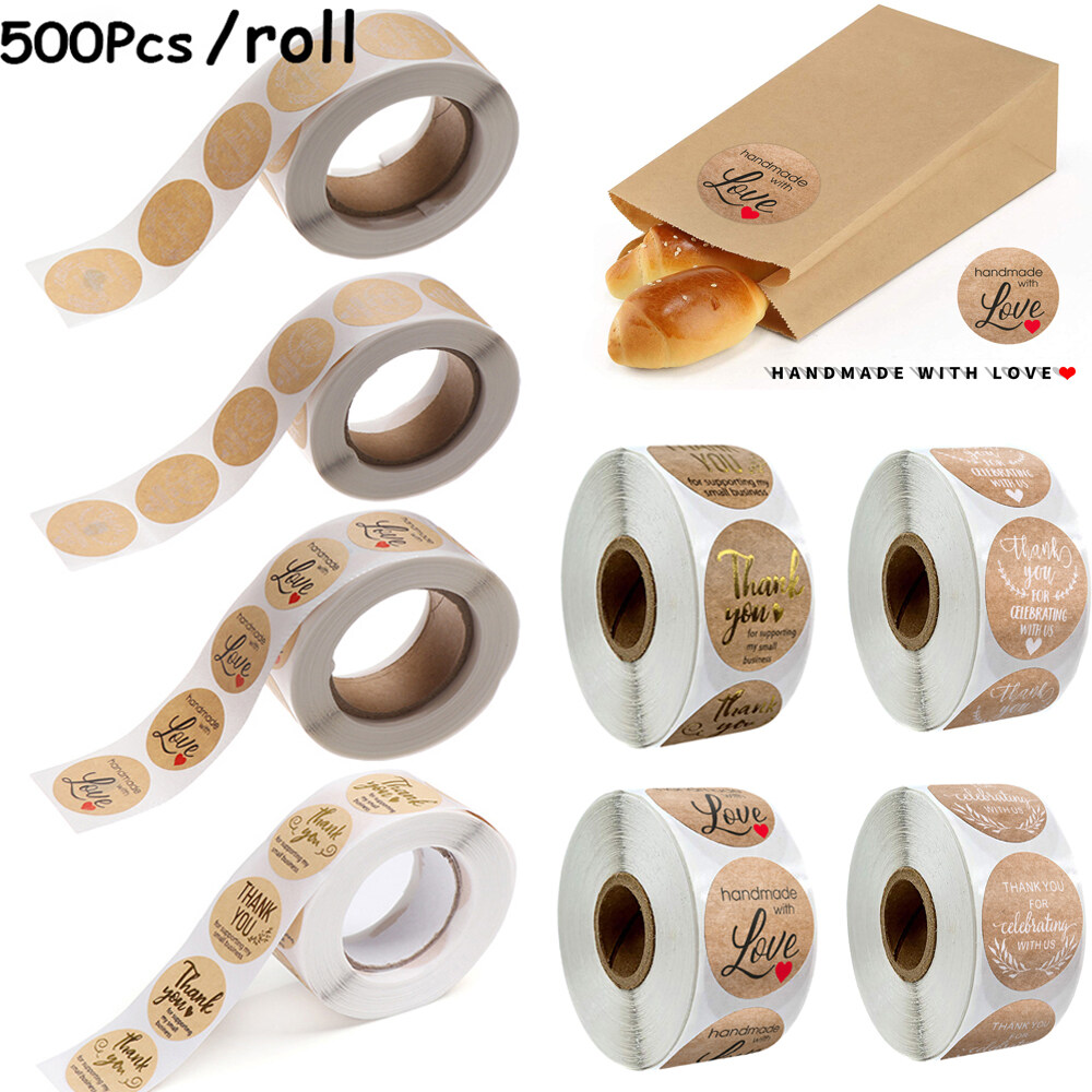 500pcs//Roll Kraft Paper Round Thank You Stickers Adhesive Craft Labels Brown