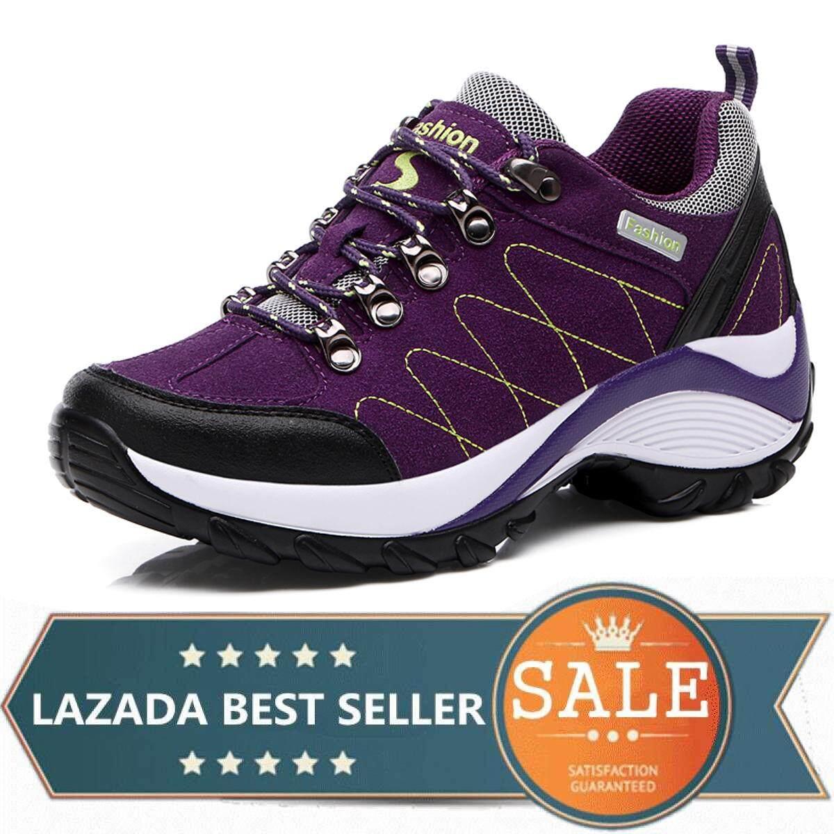 Waterproof Hiking Shoes Women Height Increasing Climbing Mountain Shoes  Women Leather Outdoor Hiking Boots 058 1c4a822f0a41
