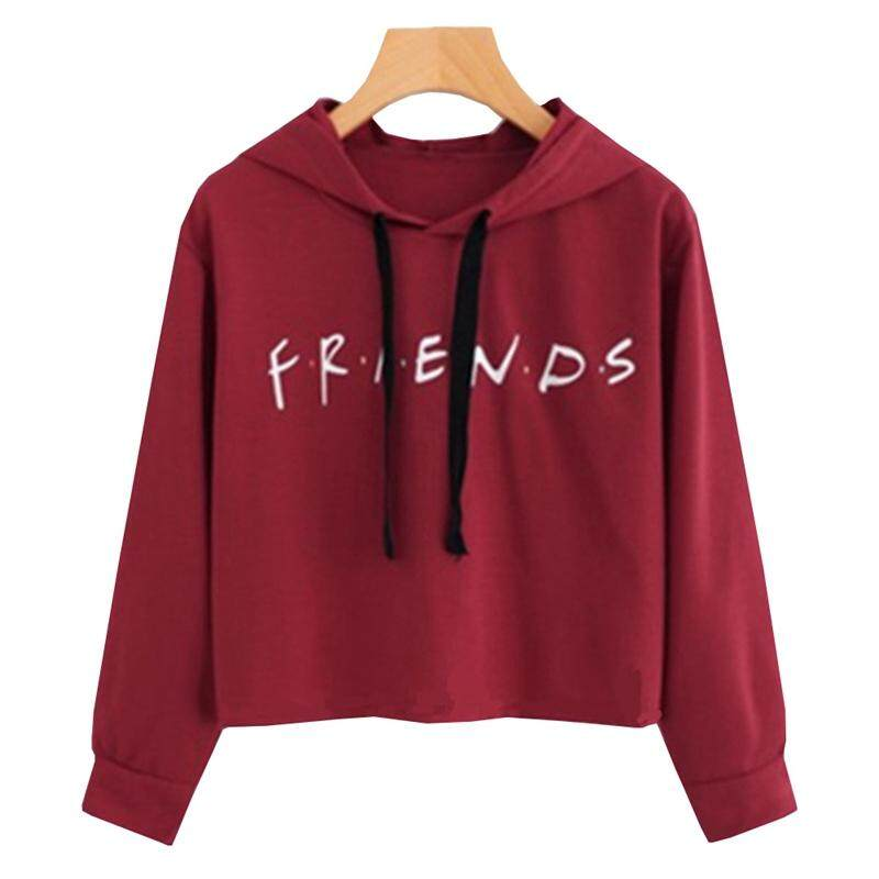 b26ab4c813f9 SUNNY Womens FRIENDS Print Hoodie Hoody Sweatshirt Pullover Sweater Jumper  Crop Tops