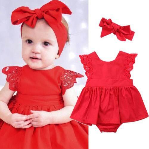 Newborn Toddler Baby Girl Clothes Bandage Dress Headband Kids Dress Outfit
